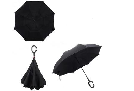 Omkeerbare paraplu | Met deze stormparaplu ben je altijd voorbereid op de regen! Zwart