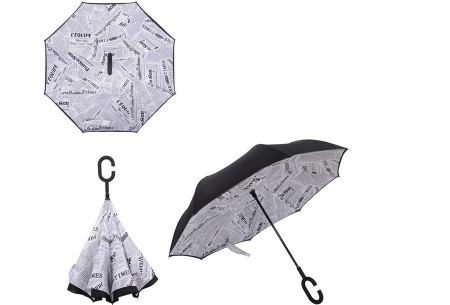 Omkeerbare paraplu | Met deze stormparaplu ben je altijd voorbereid op de regen! B