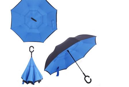 Omkeerbare paraplu | Met deze stormparaplu ben je altijd voorbereid op de regen! Blauw