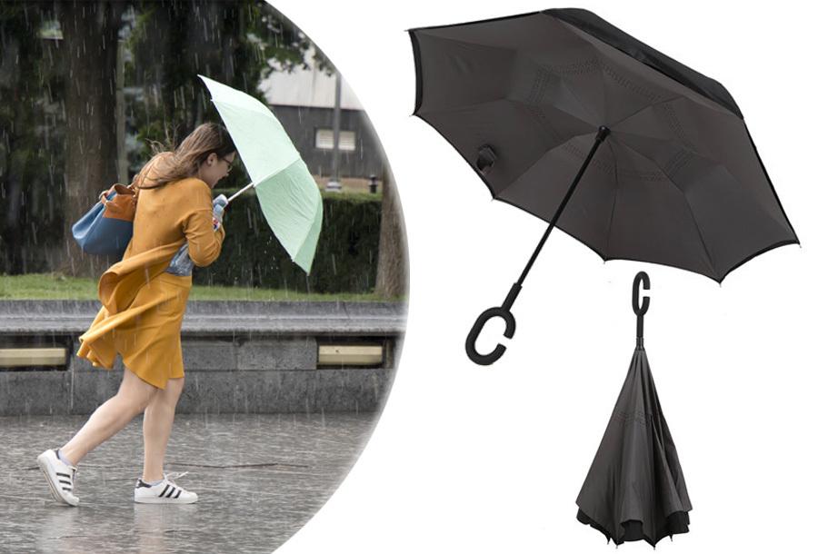 Omkeerbare paraplu nu in de aanbieding