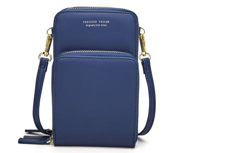 Compact telefoontasje | De ideale tas voor je telefoon, brief- en muntgeld, pasjes en meer Donkerblauw