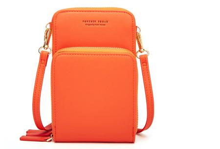Compact telefoontasje | De ideale tas voor je telefoon, brief- en muntgeld, pasjes en meer Oranje