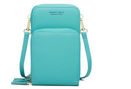 Compact telefoontasje | De ideale tas voor je telefoon, brief- en muntgeld, pasjes en meer Turquoise