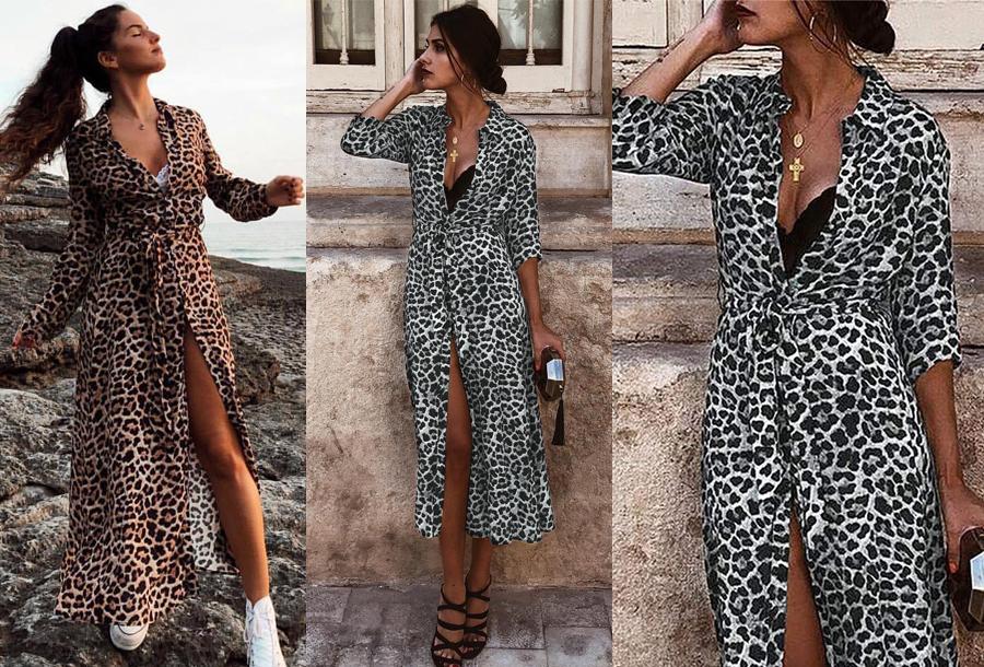 Dagaanbieding - Panterprint maxi jurk nu in de sale dagelijkse koopjes