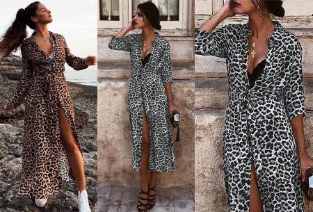 Panterprint maxi jurk nu met giga korting in de uitverkoop