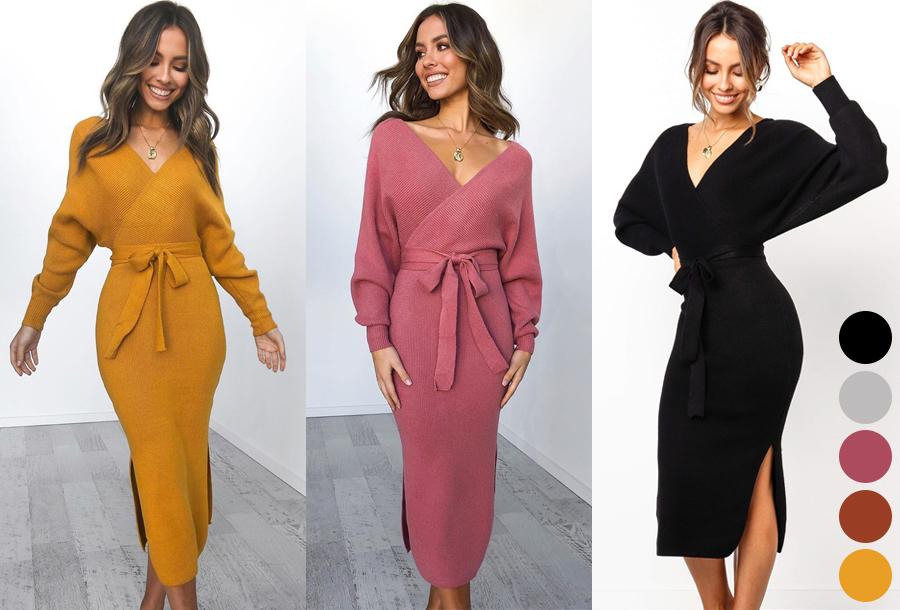 Dagaanbieding - Lange V-hals jurk nu super voordelig dagelijkse koopjes