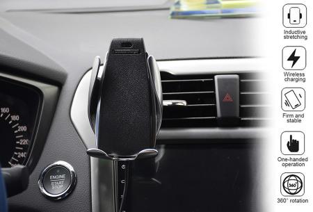 Draadloze auto telefoonlader en -houder | Smartphone car holder met infrarood sensor