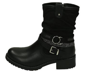 Belted biker boots | Hippe dames enkellaarsjes met stoere riempjes Zwart