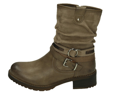 Belted biker boots | Hippe dames enkellaarsjes met stoere riempjes Khaki