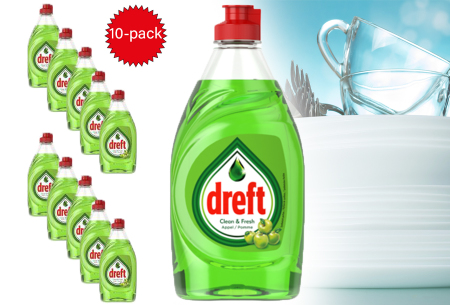 10-pack Dreft clean & fresh afwasmiddel appel in de aanbieding