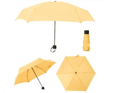 Opvouwbare mini paraplu | Handige pocket size paraplu om overal mee naar toe te nemen! Geel