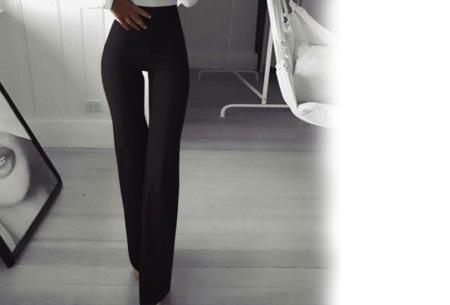 Elastische flared broek | Deze modieuze pantalon is fashionable en vrouwelijk Zwart