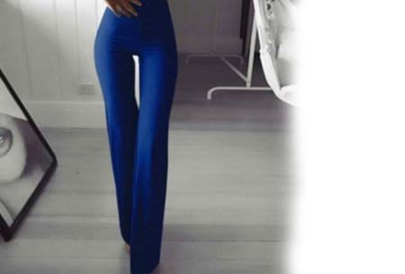 Elastische flared broek | Deze modieuze pantalon is fashionable en vrouwelijk Blauw