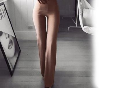 Elastische flared broek | Deze modieuze pantalon is fashionable en vrouwelijk Bruin