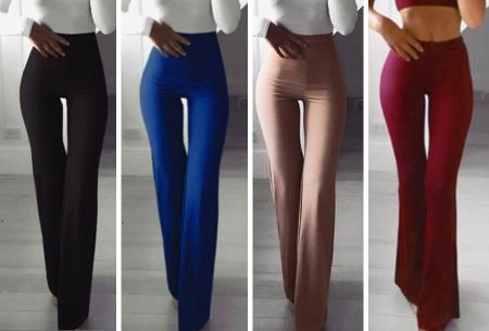 Elastische flared broek | Deze modieuze pantalon is fashionable en vrouwelijk