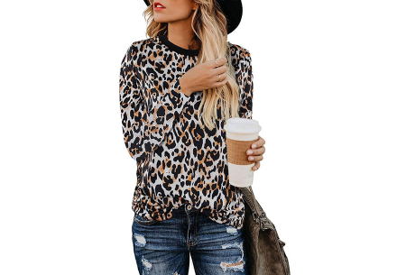 Sweater met print | Dames shirt met lange mouwen met o.a. tijger- , leger- of panterprint! #C