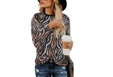 Sweater met print | Dames shirt met lange mouwen met o.a. tijger- , leger- of panterprint! #E