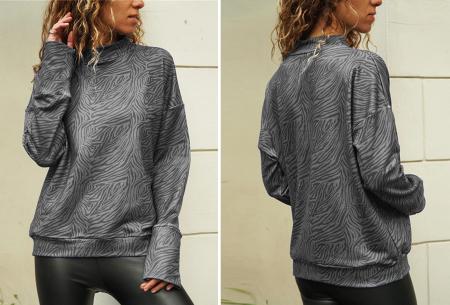Zebra sweater   De perfecte trui voor de herfst, winter en het voorjaar - in 4 kleuren Grijs
