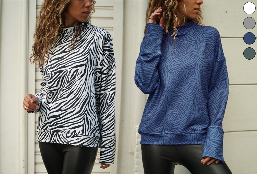 Zebra sweater - nu met korting <br/>EUR 7.99 <br/> <a href='https://tc.tradetracker.net/?c=24550&m=1018105&a=230468&u=https%3A%2F%2Fwww.vouchervandaag.nl%2Fzebra-sweater-trui-dames-kleding' target='_blank'>bekijk product</a>
