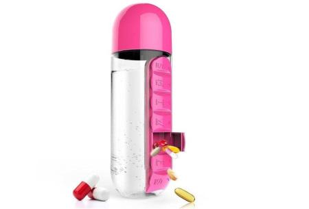Waterfles met pillendoosje | Handige drinkfles mét beker in 5 verschillende kleuren! Roze