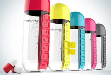 Waterfles met pillendoosje | Handige drinkfles mét beker in 5 verschillende kleuren!