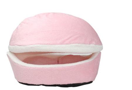Hamburger kattenmand | Super zacht pluche kattenbed  Licht roze