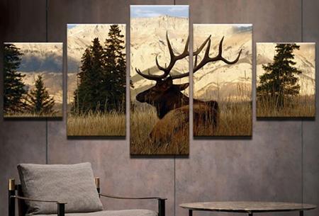 5-luik Diamond painting | Creëer je eigen kunstwerk voor aan de muur! Hert