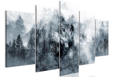5-luik Diamond painting | Creëer je eigen kunstwerk voor aan de muur! Wolf