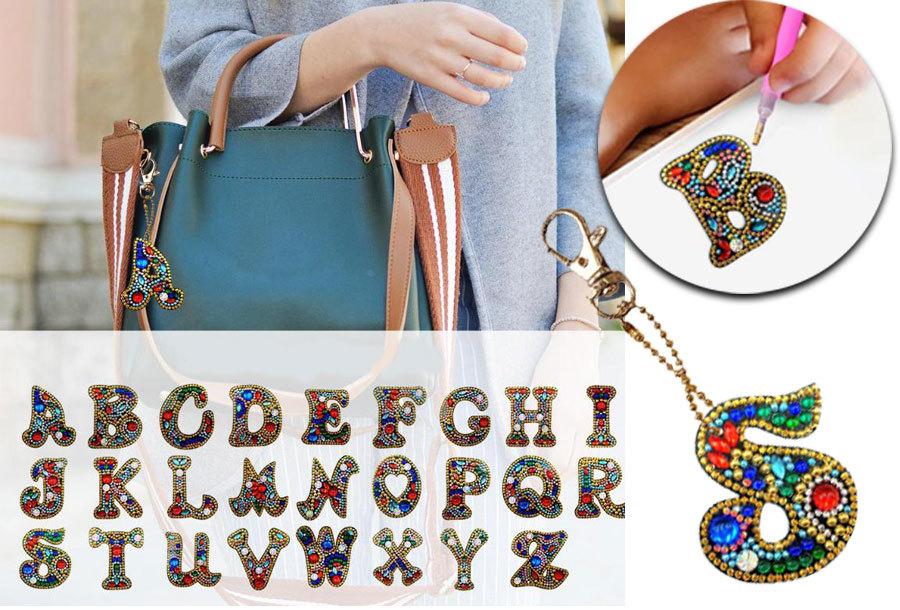 Diamond painting letter sleutelhanger O