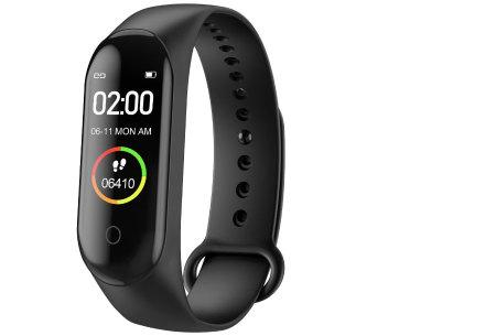 Smart Activity tracker | Waterdichte Bluetooth activity tracker mét hartslagmeter en slaapmonitor Zwart