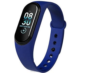 Smart Activity tracker | Waterdichte Bluetooth activity tracker mét hartslagmeter en slaapmonitor Blauw