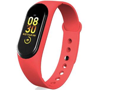 Smart Activity tracker | Waterdichte Bluetooth activity tracker mét hartslagmeter en slaapmonitor Rood