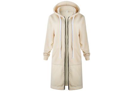 Lang hoodie vest Maat 5XL - Beige