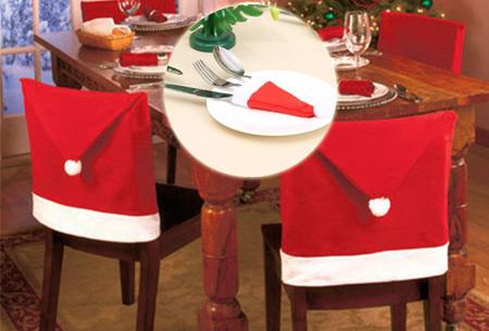 Kerst stoelhoezen + gratis bestekhouders