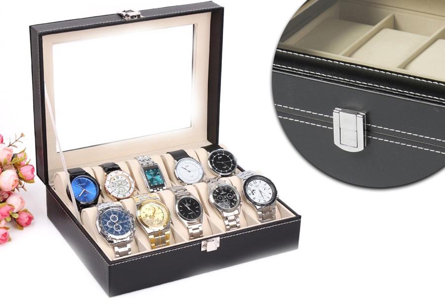 Horloge opbergbox nu in de aanbieding <br/>EUR 16.95 <br/> <a href='https://tc.tradetracker.net/?c=24550&m=1018048&a=321771&u=https%3A%2F%2Fwww.vouchervandaag.nl%2Fopbergbox-horloges-organizer-luxe-aanbieding' target='_blank'>Bekijk de Deal</a>