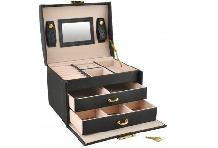 Sieradendoos | Luxe box voor al jouw horloges, oorbellen, kettingen en ringen! Zwart