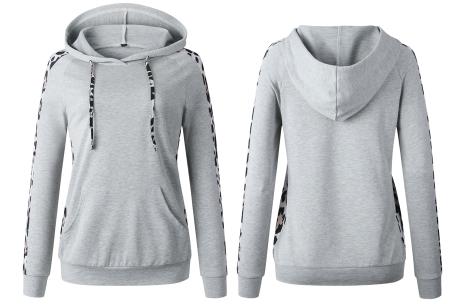 Comfortabele dames hoodie | Trendy trui met luipaard detail - keuze uit 3 kleuren Grijs