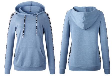 Comfortabele dames hoodie | Trendy trui met luipaard detail - keuze uit 3 kleuren Blauw