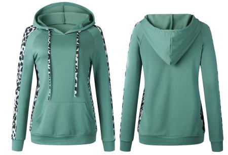 Comfortabele dames hoodie | Trendy trui met luipaard detail - keuze uit 3 kleuren Groen