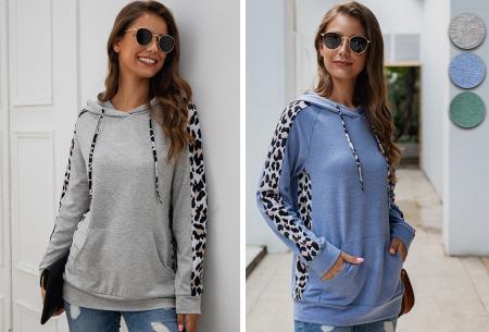 Comfortabele dames hoodie | Trendy trui met luipaard detail - keuze uit 3 kleuren