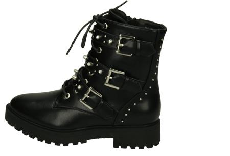 Zwarte biker boots   Enkellaarsjes met riempjes en/of veters in 4 trendy modellen  Model 4