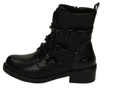 Zwarte biker boots   Enkellaarsjes met riempjes en/of veters in 4 trendy modellen  Model 3
