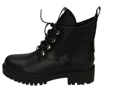 Zwarte biker boots   Enkellaarsjes met riempjes en/of veters in 4 trendy modellen  Model 1