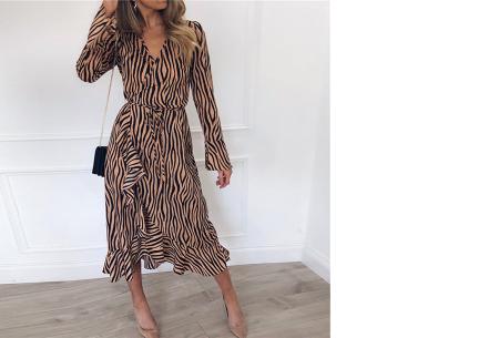 Dames blouse en jurk met stijlvolle zebraprint | Verkrijgbaar in 3 verschillende kleuren Khaki