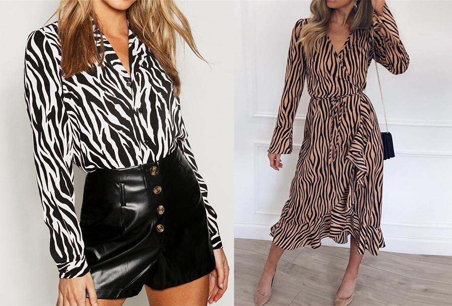 Sale: dames jurk en blouse met gave print