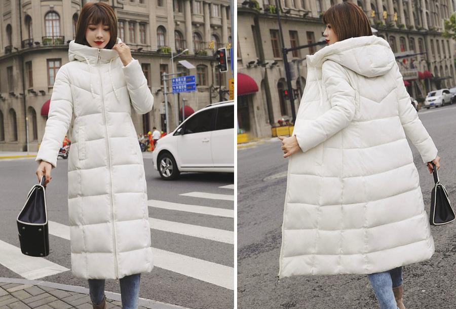 Lange gewatteerde winterjas - Maat XL - Wit