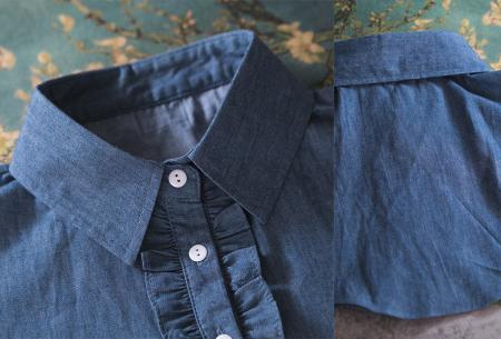 Blouse kraagjes   In hippe Denim Blue versie - keuze uit 6 verschillende kraagjes