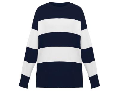 Gestreepte oversized trui | Topkwaliteit dames sweater met horizontale strepen Blauw