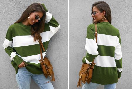 Gestreepte oversized trui | Topkwaliteit dames sweater met horizontale strepen