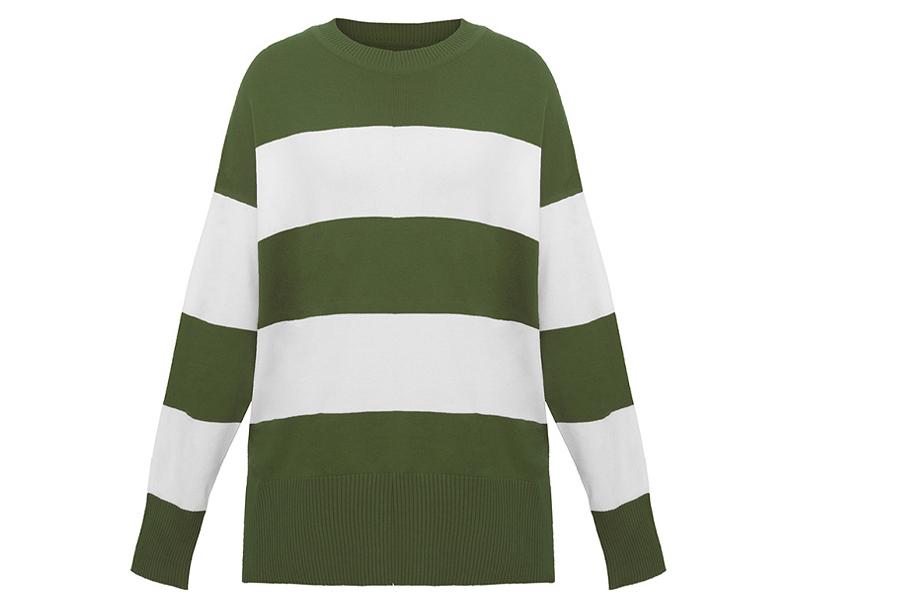 Gestreepte oversized trui Maat XL - Groen